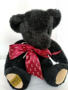 """MERRYTHOUGHT BLACK FULLY JOINTED 11"""" BEAR WITH MAROON RIBBON"""