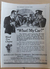 1921 magazine ad for Weed Tire Chains - Cop berates man for no Tire chains