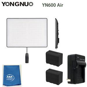 YONGNUO YN600 Aire 5500k Pro Luz LED Kit Con Dos Alta Potencia Baterías Cargador