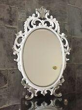 Espejo de Pared Blanco / plata ovalado Barroco 43cm maquillaje