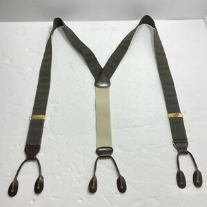 Jos A Bank Green Red Dot Rigid Adjustable Suspenders Braces Leather in England