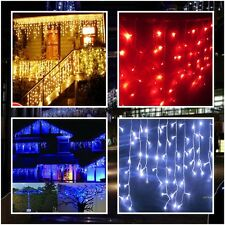 US Ship LED Icicle Light 3M 100 LEDs Warm White Blue Red Party Christmas Wedding
