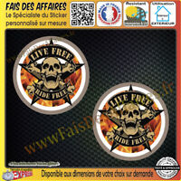 2 Stickers Autocollant adhésif skull live free ride free decal motorcycles
