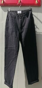 Vintage 90s Valentino high waist tapered leg washed out black jeans pants S