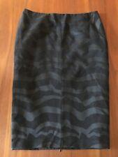 VERONIKA MAINE Black Ripple Wave Reverse Textured Lined Straight Pencil Skirt 16