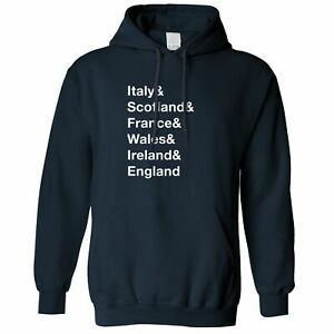 The Six Nations Hoodie Italy, Scotland, France Wales, Ireland, England