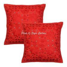 Traditional Sofa Cushion Covers 40 x 40 cm Embroidered Cotton Pillowcases
