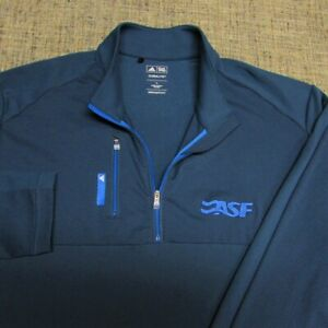 ADIDAS CLIMALITE POLY SPANDEX 1/4 ZIP GOLF PULLOVER--L-ASF LOGO--FLAWLESS--MINT
