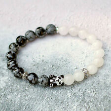 Panda Bracelet White Jade Snowflake Obsidian Stretch Fit Natural 8mm Stones