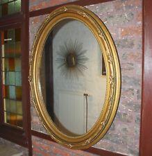 Grosser Jugendstil Spiegel Oval vergoldet Blumenranken altes Spiegelglas