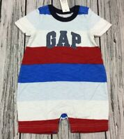 GAP Baby Boys Size 0-3 Months Navy Blue White Cotton Striped Knot Hat