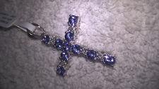 Tanzanite with White Diamond Pendant / 925 Silver with Rhodium / With Chain also