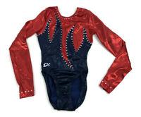 GK Elite Sequined Red//Black Gymnastics Leotard AS Adult Small 3980