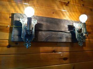 Antique/Vtg 1920s Tudor Cast Brass-Bronze Light sconce Set, Spanish, Arts/Gothic