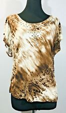 Only Nine Size Large L Blouse Top Brown White Studs Shirt Spring Summer