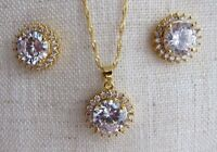 18K GP Clear Crystal Necklace Pendant & Matching Earrings - Set.
