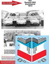 DÉCALS 1/43 réf 931 Renault SB2 Assistance 1973