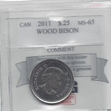 **2011  Wood Bison**Coin Mart Graded Canadian, 25 Cent, **MS-65**