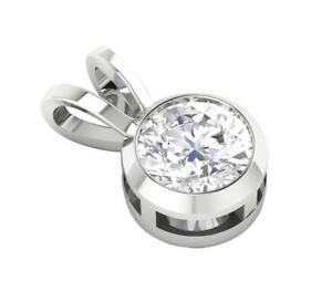 I1 G 0.75 Ct Round  Diamond Solitaire Pendant Necklace 14K Solid Gold Bezel Set