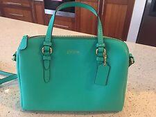 NEW COACH GREEN LEATHER SHOULDER BAG (Peyton Bennett mini satchel)