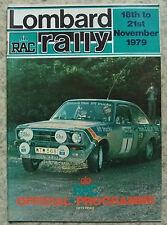 LOMBARD RAC RALLY Official Programme 18/21 Nov 1979