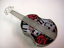 "Amia Stained Glass Box 4.25"" X 8.5"" Violin #5211"