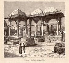 CAIRE TOMBEAUX DES MAMELOUKS MAMELUK EGYPTE IMAGE 1880 CAIRO EGYPT OLD PRINT