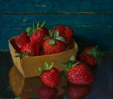 Original oil painting a day still life realism fruit strawberries 8x7 in, Y Wang