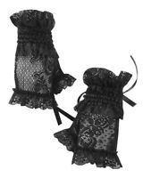 Dark In Love Womens Gothic Lace Fingerless Gloves Black Steampunk VTG Victorian