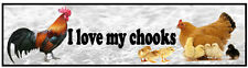 Car bumper sticker I Love My Chooks rooster hen chickens birds poultry decal