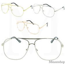 Fashion Square Oversized Classic Pilot Clear Lens Glasses VTG Men Womens Eyewear