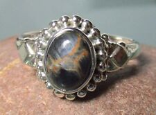 Sterling silver cabochon Pietersite everyday ring UK M½-¾/US 6.55-6.75