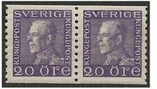 1927 Vertical Coil Swedish King Gustav V 20o Violet Stamp. Very Scarce