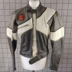 GIUDICI RIRI Zip VTG Men's Leather Motorcycle Jacket Size 42 Grey / White