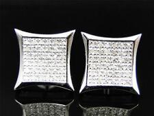 Men/Ladies New White Gold Finish Pave Kite Genuine Diamond Stud Earrings 13 mm