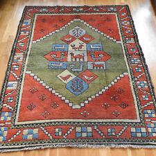 Handmade Turkish Pictorial Vintage Traditional Oriental Wool Rug 180 X 135cm