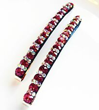 USA Quality Bobby Pin Hair Clip using Swarovski Crystal Hairpin Long Magenta