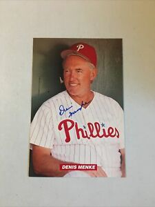 Philadelphia Phillies 1994 Denis Menke Signed 4x6 Photo Print