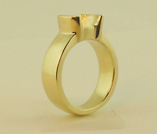 1/2 Bezel Ring Mounting For 8 mm 2Ct  Round Gem Stone 14K Solid Yellow Gold