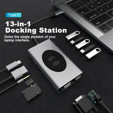 13 in 1 USB C Hub & VGA, PD3.0, Ethernet SD/TF Kartenleser Wireless Charger