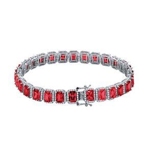 Ruby Red Men's Women 18k White Gold Finish Simulated Diamonds Solitaire Bracelet