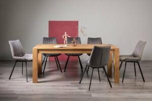 Blake Light Oak 8-10 Seater Dining Table & 8 Fontana Grey Velvet Fabric Chairs w