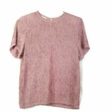 Vtg Dress Barn Womens Top Sz S Pink Short Sleeves Key Hole Crinkle Shoulder Pads