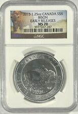 2015 MS70 SILVER 1.25 OZ. CANADA BISON Early Releases $8 Dollar