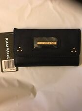 Black Rampage Women's Tri-Fold Wallet With Zipper Compartment
