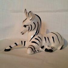 "Zebra Figurine Sitting One Leg Extended One Leg Tucked 7½"" x 3¼"" Unmarked"