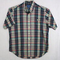 TOWNCRAFT JC PENNEY Vtg Blue Green Red Tartan Plaid S/S Button Shirt Men's Large