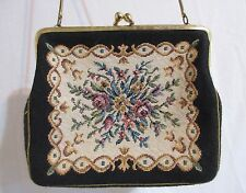 Vintage 40's Small Needlepoint Floral Tapestry Clutch Handbag