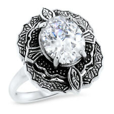 Ct Cubic Zirconia Ring Sz 5 #1056 Victorian Antique Style 925 Sterling Silver 5