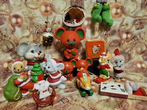 Christmas In July Lot 16 Vntg Mice Ornaments Hallmark Enesco Singing Kitschmas